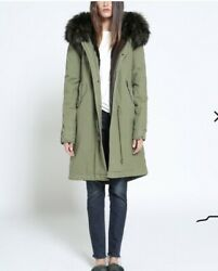 Mr And Mrs Italy Army Cotton Canvas fur parka Small $549.00