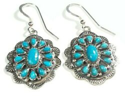 925 STERLING SILVER ETCHED FLOWER CLUSTER TURQUOISE 1 5 8quot; HOOK EARRINGS $36.99