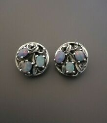 c1930 Arts and Crafts opal doublet silver leaves earrings pinks purples greens GBP 150.00