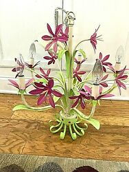 Vintage Tole Painted 5 Light Chandelier Pink Lily Flowers Green Leaves BIN $220.00