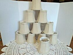 Lot 11 BEAUTIFUL Clip On Chandelier Shades Lampshades Suede Beige Light Tan $50.00