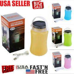 Solar Camping Lantern USB Rechargeable Lamp Torch Collapsible Fold bottle Light $7.78