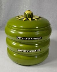 Kitchen Canisters MID CENTURY Stacking Snack SET 1970s Avocado Green Vintage $48.00