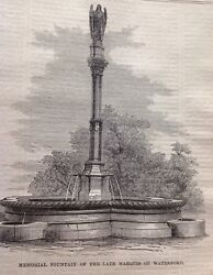 Memorial Fountain Of The Late Marquis Of Waterford Antique Print 1869 Original GBP 7.50