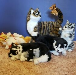 Fabric covered Cat kitten decorative collection 5 electronic figurines $25.00