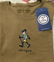 LIFE IS GOOD Olive S S Crusher T Shirt quot;JACKIE HIKINGquot; Women#x27;s SMALL NWT $24.50