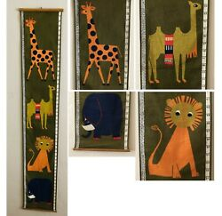 Vintage Swedish Fabric Wall Hanging childs height chart 1960s Mid Century Modern $58.50