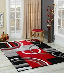 GLORY RUGS Area Rug Modern 8x10 Red Soft Hand Carved Contemporary Floor Carpe... $239.87