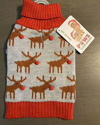 PAWS FOR THE SEASON GRAY RED CHRISTMAS SWEATER quot;RUDOLPHquot; Puppy Dog MEDIUM $16.50