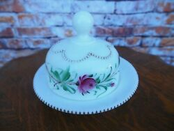 Antique Milk Glass Hand Painted Beaded Round Cheese Or Covered Butter Dish $34.99