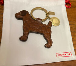 NWOT Coach Signature Brown Dog leather Keyring Keycharm Fob Chain $69.00