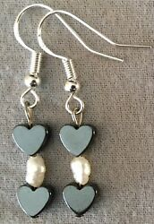 HEMATITE FRESHWATER PEARL EARRINGS 3 STACKED Beads w Sterling Silver Ear Wires $15.99