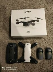 DJI Spark Camera Drone Alpine White with Remote and 2 batteries $225.00