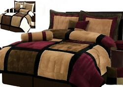 Burgundy or White + Brown and Black Suede Patchwork Comforter SetBed-In-A-Bag