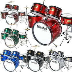MENDINI 5 PIECE CHILD JUNIOR JR. DRUM SET +CYMBAL ~BLACK BLUE GREEN RED SILVER $189.99