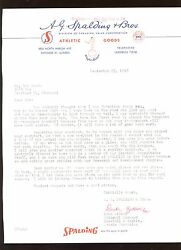 September 23rd 1958 Spalding Glove Contract Letter to Bob Burda $100.00