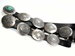 Gary Reeves Coin Silver Dollar Concho Belt Kingman Turquoise