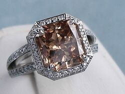 5.62 CARATS CT TW RADIANT CUT DIAMOND ENGAGEMENT RING NATURAL CHOCOLATE SI2