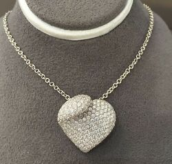 18k White Gold Pave 2.49ct Diamond Heart Pendant 24