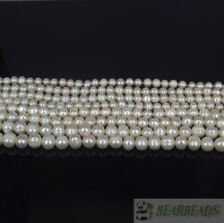 Natural Freshwater White Pearl Round Beads 4mm 6mm 8mm 9mm 10mm 11mm 12mm 15''