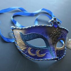 Royal Blue Venetian Masquerade Mask Party Prom Mardi Gras Halloween Costume $6.99