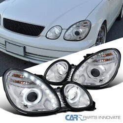 Fit 98-00 Lexus GS300 GS400 Clear LED DRL Strip Halo Projector Headlights Pair