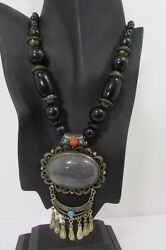Women Fashion Necklace Moroccan Wood Bead Vintage Gold Metal Chains Red Brown