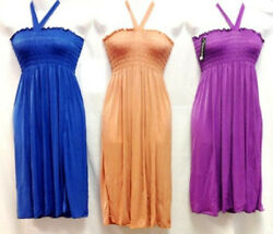 Solid Color Stretchy Silky Smocked Summer Beach Sun Dresses w Neck strap $15.38