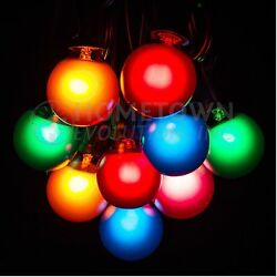 25 Foot Outdoor Globe Patio String Lights - Set of 25 G40 Assorted Satin Bulbs
