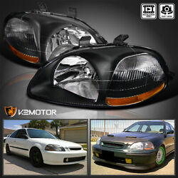Black For 1996 1998 Honda Civic DX EX LX Replacement Headlights Lamps LeftRight $65.38