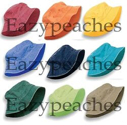 PEACHES - UNISEX DYED BUCKET CAP Men's Womens Adams Packable 100% COTTON Hat  $6.95