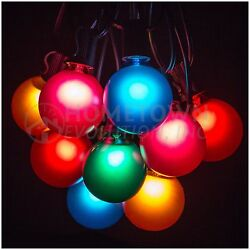 25 Foot Outdoor Globe Patio String Lights - Set of 25 G50 Assorted Satin Bulbs