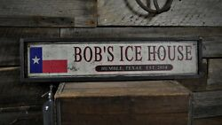 Custom Ice House Est. Date Pub Sign - Rustic Hand Made Vintage Wooden ENS1000493