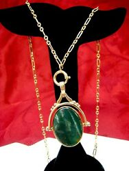 9K IRISH GOLD 375 FLIPPED OVAL BLOODSTONE & BLUE LACE AGATE PENDANT CHAIN!