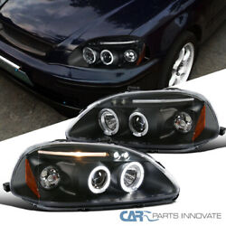 Fit Honda 96-98 Civic 234Dr LED Halo Projector Headlights Lamps Black Pair