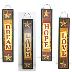 RUSTIC COUNTRY WALL PLAQUES LOVE DREAM HOPE LAUGH 10quot; TALL HANGING $4.97