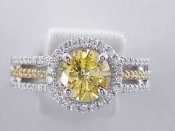 1.32 CARATS TW ROUND CUT DIAMOND ENGAGEMENT RING  VIVID YELLOW SI2 $2290