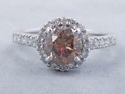 1.84 CARATS TW ROUND CUT DIAMOND ENGAGEMENT RING  NATURAL CHOCOLATE SI1 $2990