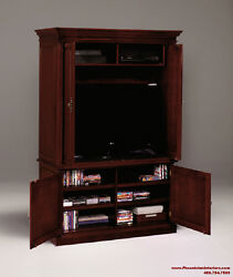 Entertainment Center TV Console Stand MEDIA CABINET Cherry Wood Office Furniture