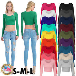 Women#x27;s Long Sleeve Basic Crop Top Round Neck With Stretch USA SML $9.99