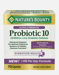 Nature#x27;s Bounty Ultra Strength Probiotic 10 70 Capsules. New 1 pill per day $29.99