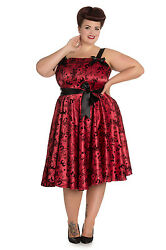 Hell Bunny Plus Size Gothic Red Black Tattoo Flock Rockabilly Dress 1X 2X 3X