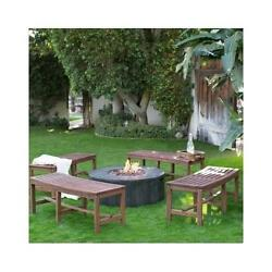Outdoor Backless Curved Fire Pit Bench Around Firepit or Tree Garden Wood Seat