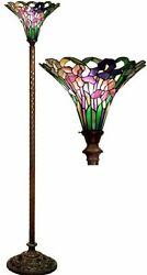 Antique Tiffany style Iris Torchiere Lamp Tiffany Lamps Torch Floor Glass Metal $169.95