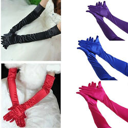Womens Satin Evening Gloves 21#x27;#x27; Long Party Dance Elbow Length Opera Gloves US $7.59