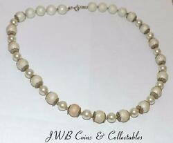 Ladies Pearl Style Necklace With Silver Clasp - Length 460mm - Costume Jewellery $10.37