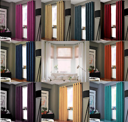 2PC HEAVY THICK SOLID GROMMET PANEL WINDOW CURTAIN DRAPES BLACKOUT FLOCKING K34 $21.00