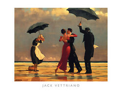 The Singing Butler Jack Vettriano Love Romance Dancing Beach Rain Print Poster