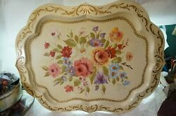 ANTIQUE TOLE TRAY ARTIST SIGNED B MARBERGER HUGE 31quot; ROSES FLORAL METAL TOLEWARE $199.99