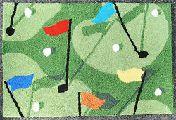 Golf Greens & Flags Rug Door Mat Hooked outdoor home decor 20x30